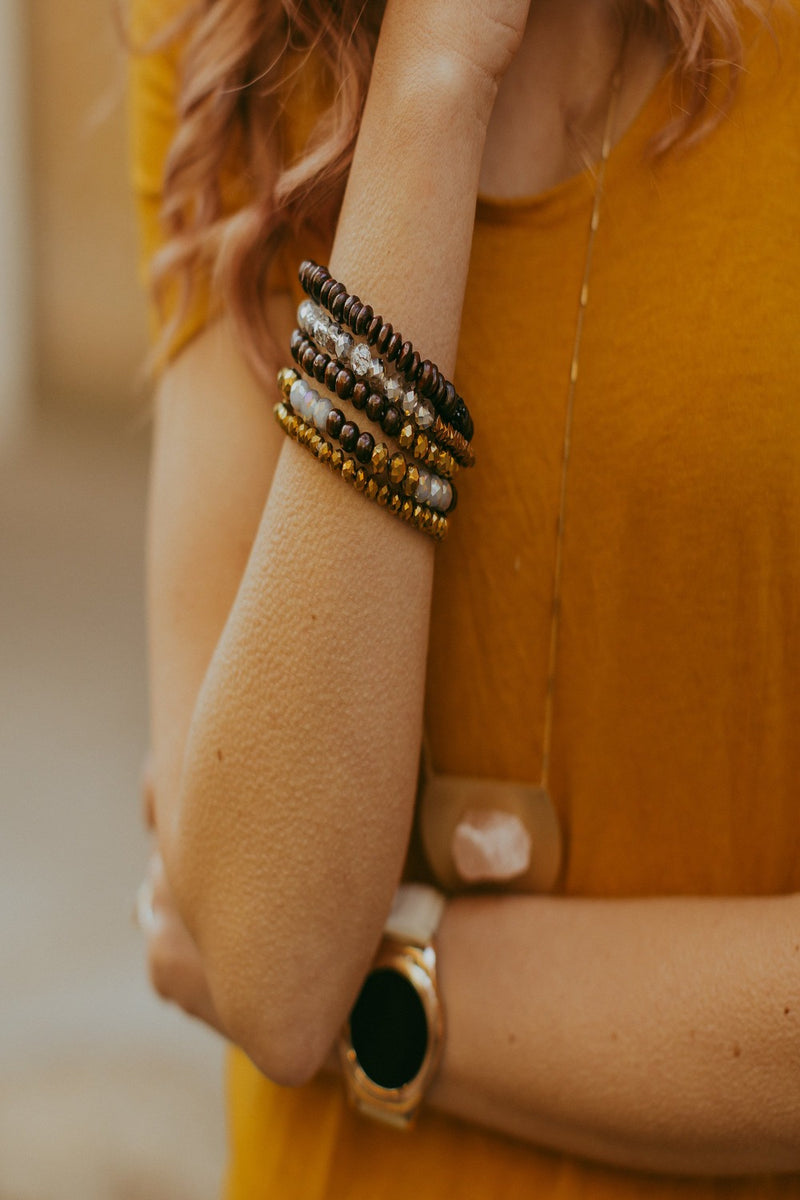 ensley styled + stretch stack in crown gold