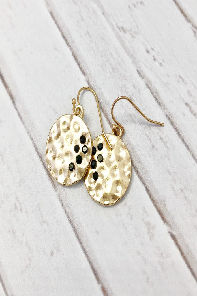 Gold Hammered Circle Earrings