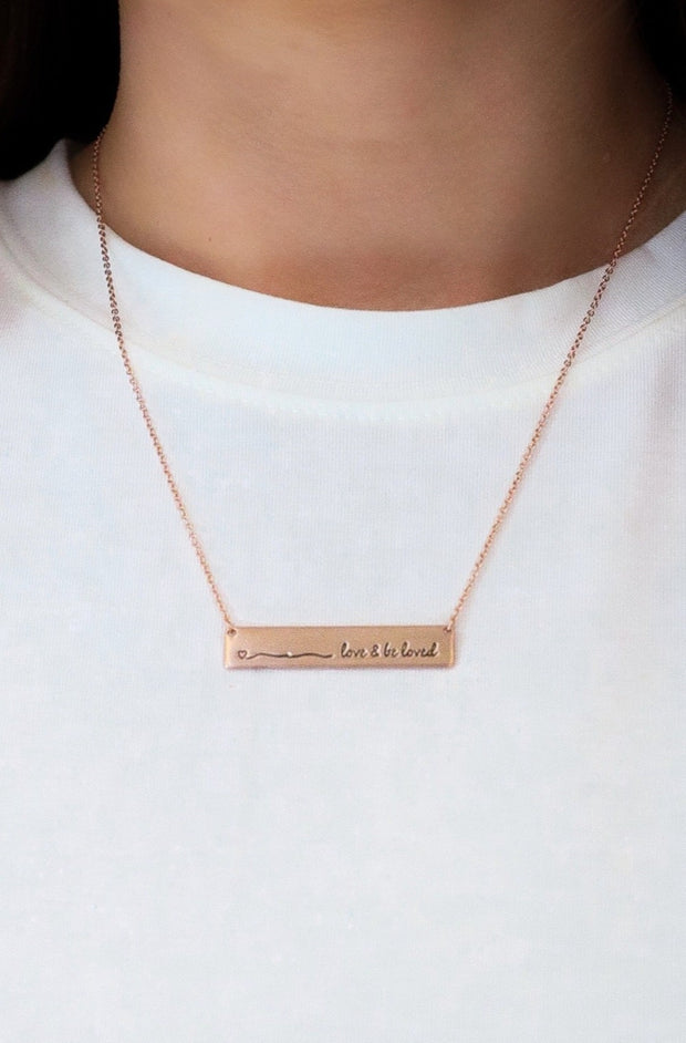 love + be loved bar necklace