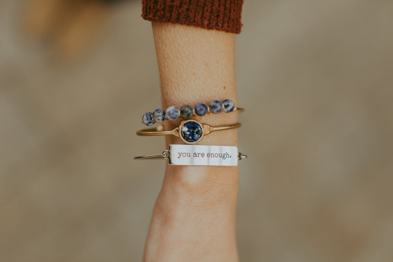 maya precious stone + wire bangle | 6 styles