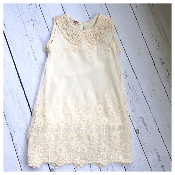 Ivory Lace Dress with Pearl Accent Collar