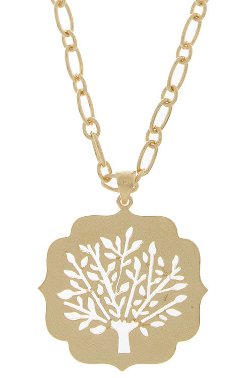 Wisdom Tree of Life Cutout Pendant Chain Necklace