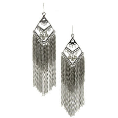 Sparkly Layered Chain Fringe Dangle Earring