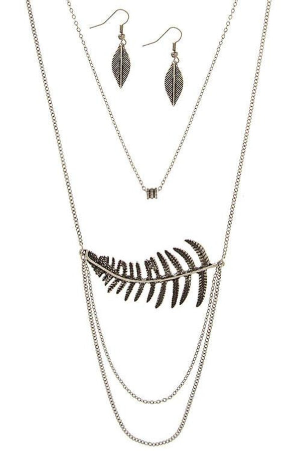 Timeless Leaf Layered Chain Necklace Set