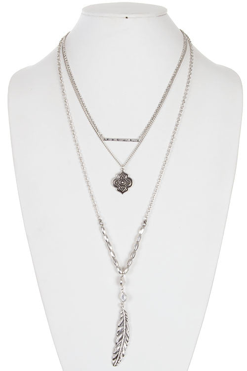 Stylish detail metal leaf and mandala Pendant 3 layer Necklace