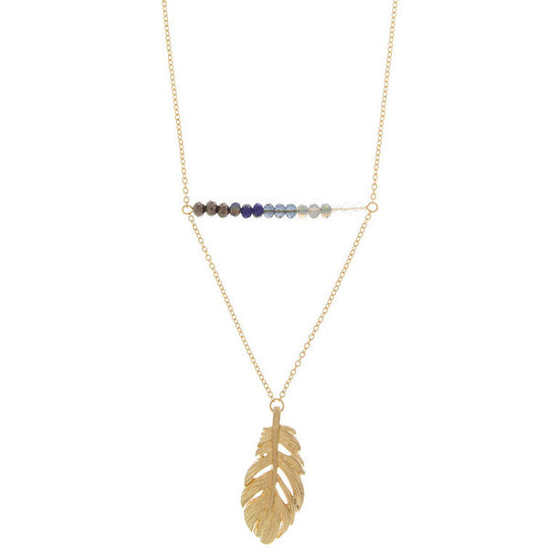 Metal Feather and Glass Bead Accent Necklace