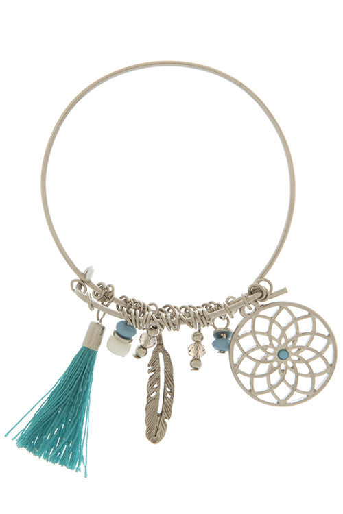 Dreamcatcher, Feather, and Tassel Charmed Bracelet