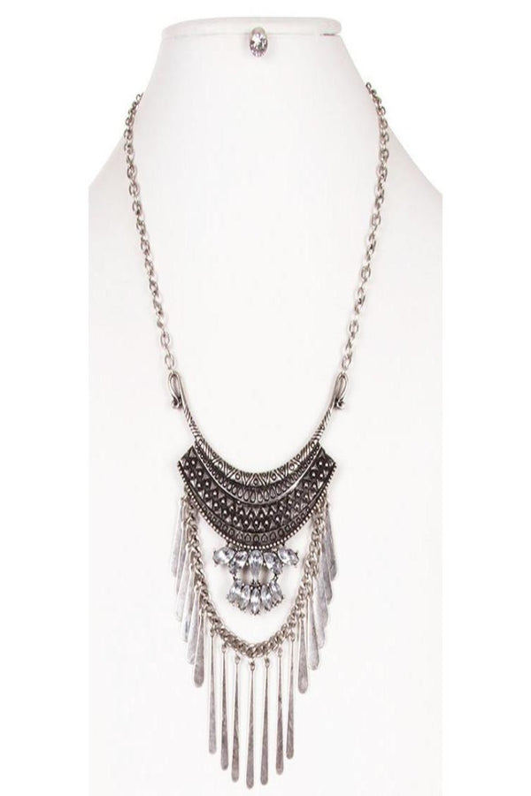 Sparkly Jewel Accent Ethnic Embossed with Metal Fringe Necklace and Earring Set