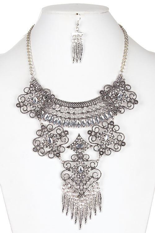 Faceted Jewel Accent Tiered Filigree Necklace