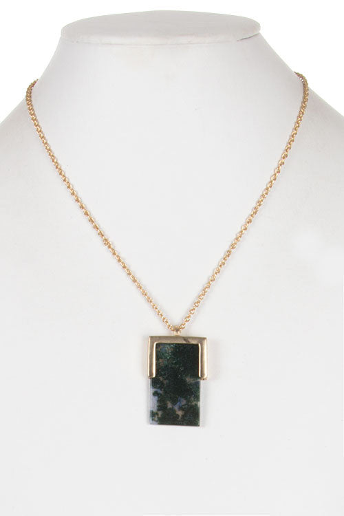 Metal Edged Rectangle Stone Pendant Necklace-3 colors!