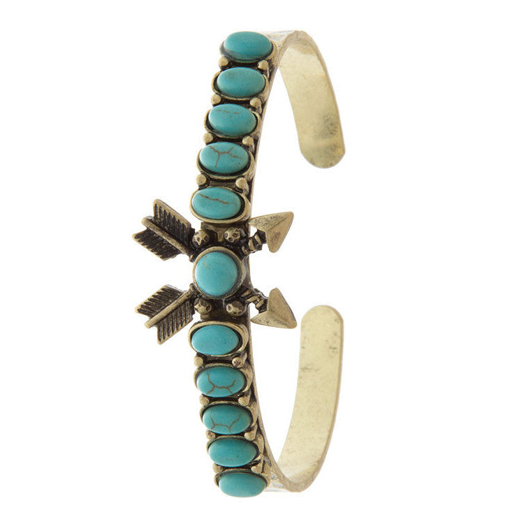 Sleek Stone Accent Crossed Arrow Cuff