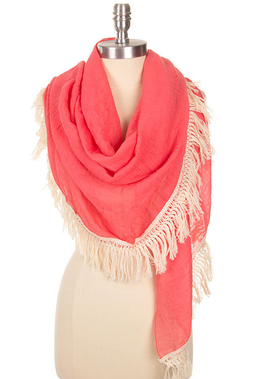 Gorgeous Fringe Edged Cotton Scarf-4 colors