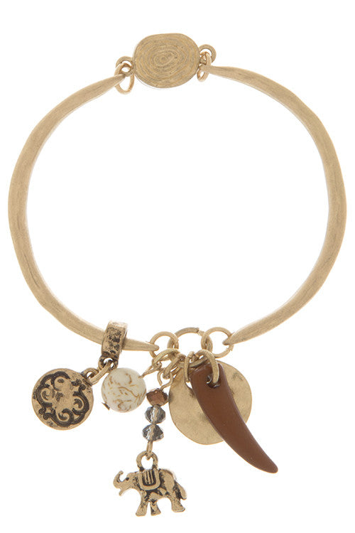 Lucky Elephant and Horn Charm Detail Bracelet