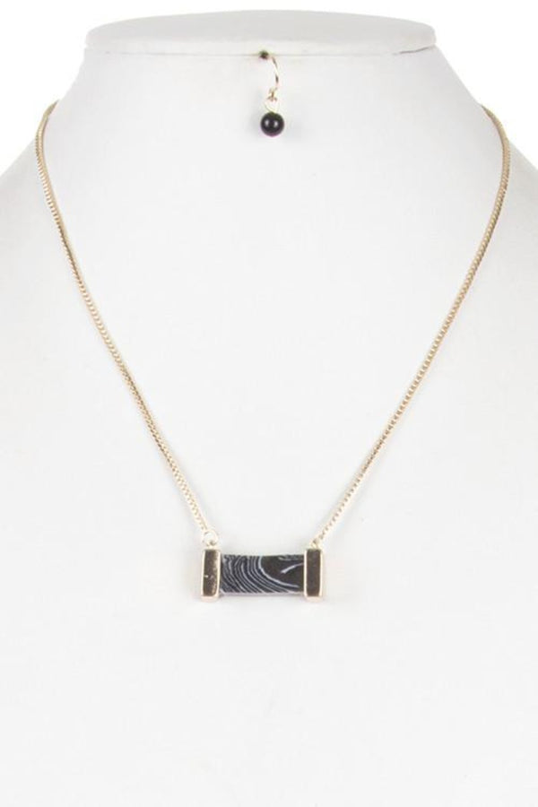 Cuboid Cut Stone Pendant Necklace