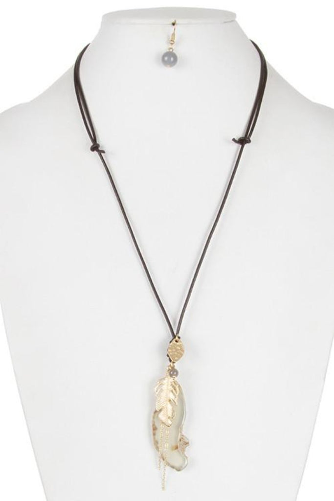 Feather Chain Fringe Stone Pendant Necklace and Earring Set