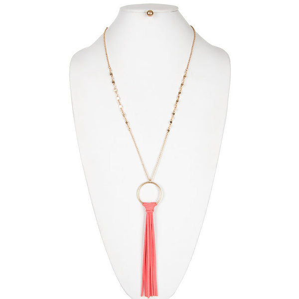 Chic Tassel Pendant with Metal Beaded Necklace