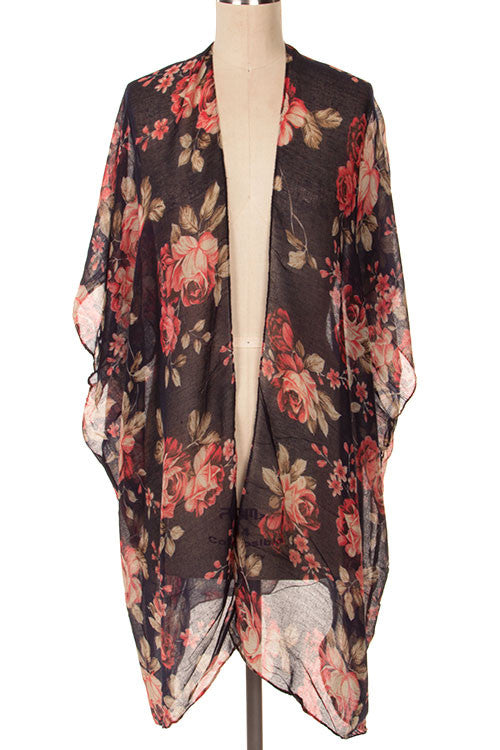 Floral Print Summer Poncho