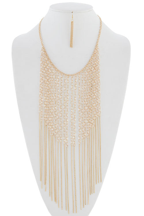 Snazzy Multi Chain Fringe Necklace Set