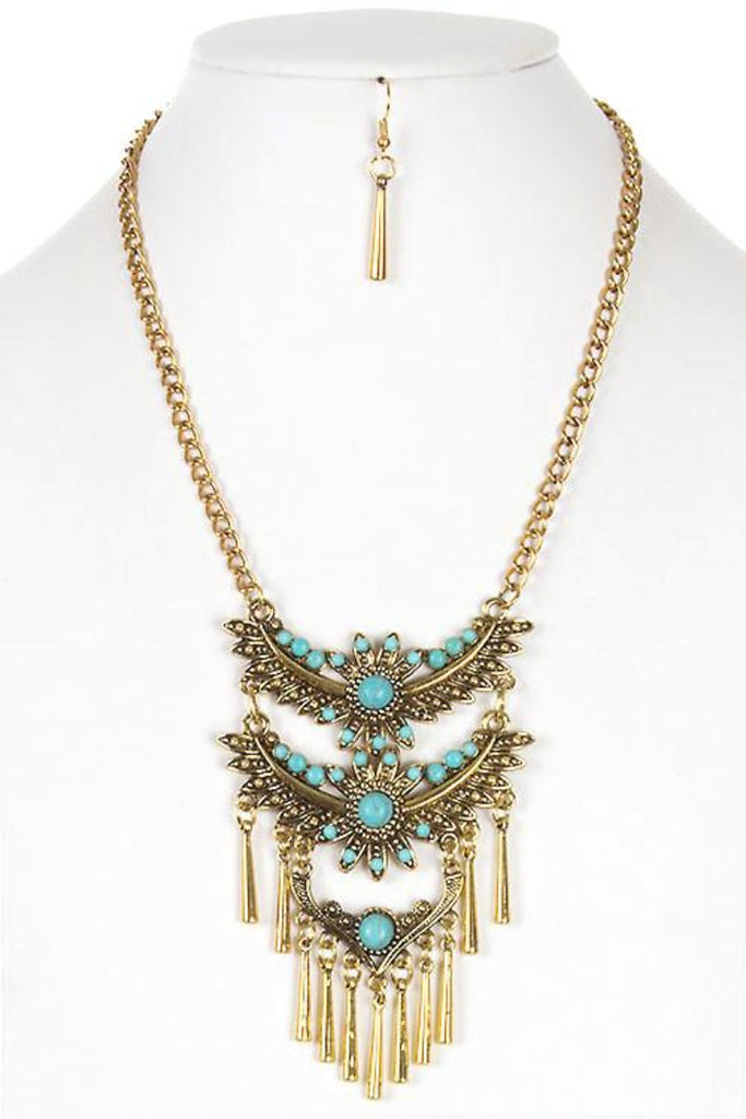 Beautiful Stone Accent Metal Bird Tiered Necklace Set