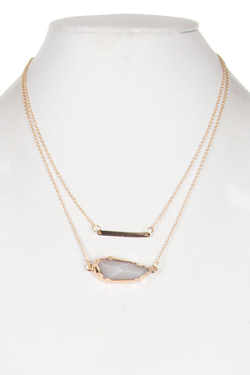 Metal Bar and Stone Double Layered Necklace-4 color options!
