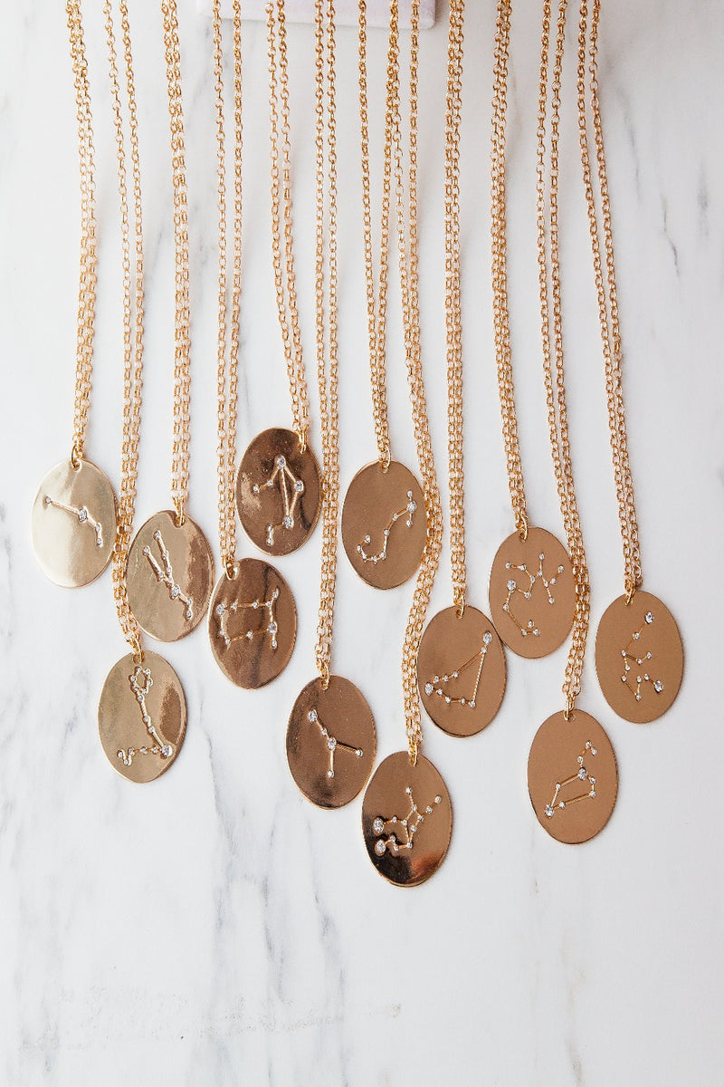 cancer | birth constellation stamped disc necklace
