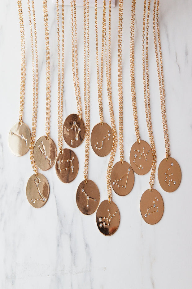 aquiarius | birth constellation stamped disc necklace
