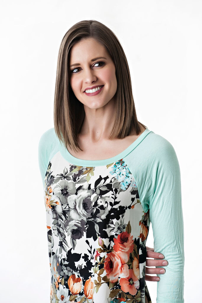 Raglan Baseball T with Floral and 3/4 sleeves | 3 colors