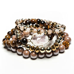 norah druzy + beads cacao stack