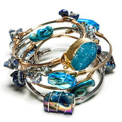 peyton stackable stone + wire set in antigua