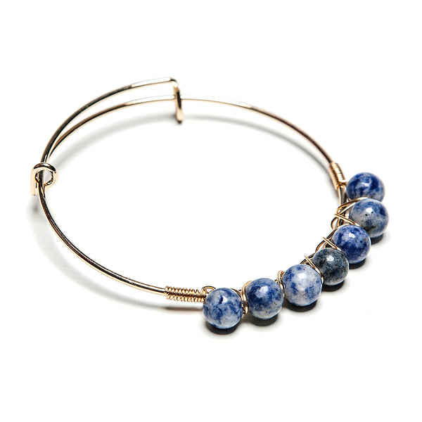 maya precious stone + wire bangle in carolina blue