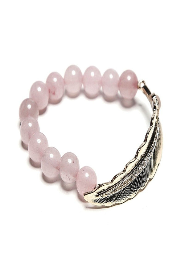 bella feather + rhinestone bracelet in blush