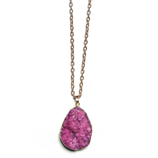 fiona druzy stone necklace in magenta