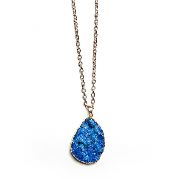 fiona druzy stone necklace in blue