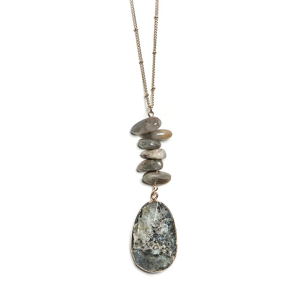 madison stacked stone + pendant necklace