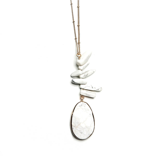 madison stacked stone + pendant necklace in white
