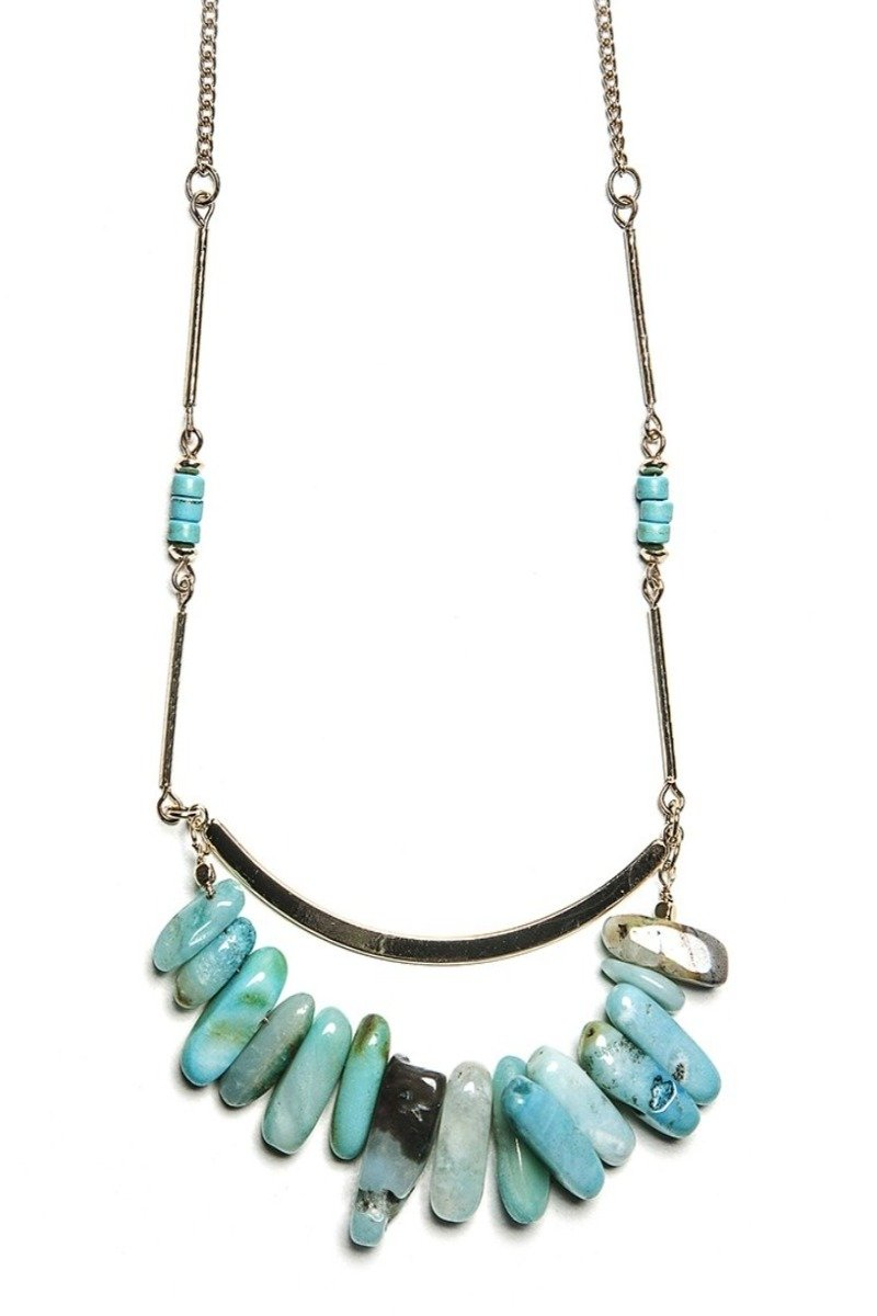 carter bar + stones necklace