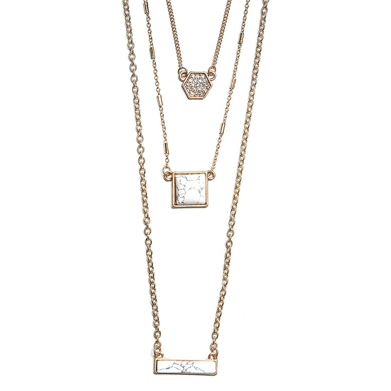 emma layered delicate stones necklace in ivory