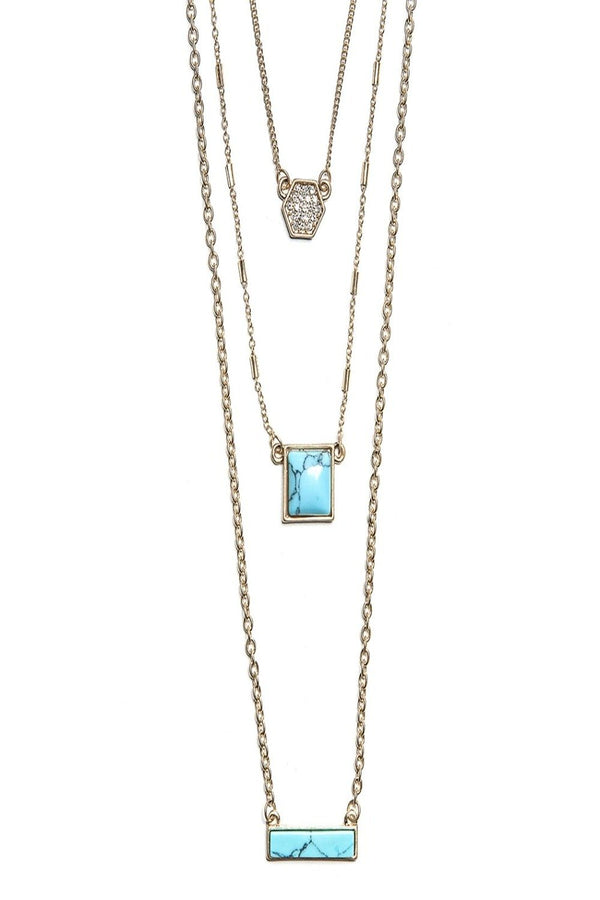 emma layered delicate stones necklace in turqouise