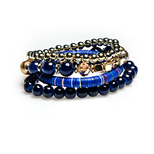 juno bracelet stack in deep blue