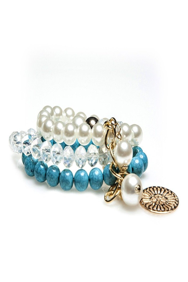 tina pearl-beads bracelet stack | 5 styles