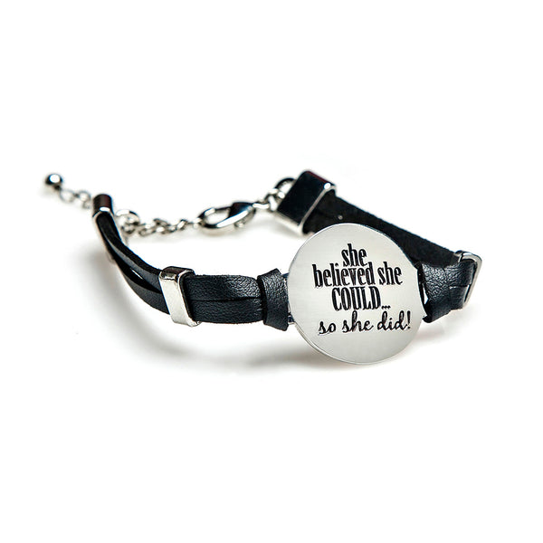i can & i will leather + pendant bracelet