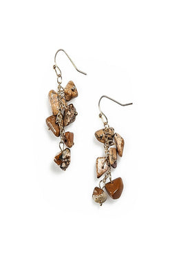 emilia stone cluster earrings in brown