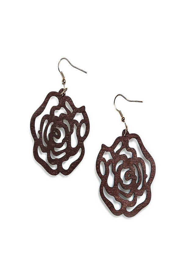 alexa wooden flower cutout earrings