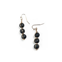 paige semi-precious bead earrings in black