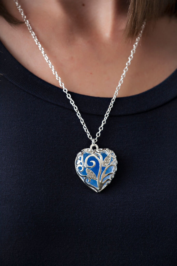 Silver Glowing Heart Necklace