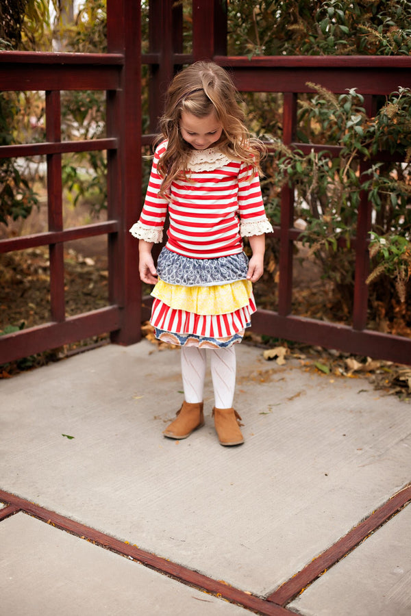 Red Striped Lace Top with Ruffle Skirt