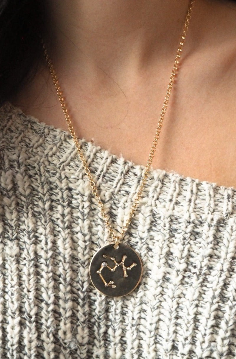sagittarius | birth constellation stamped disc necklace