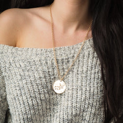 virgo | birth constellation stamped disc necklace