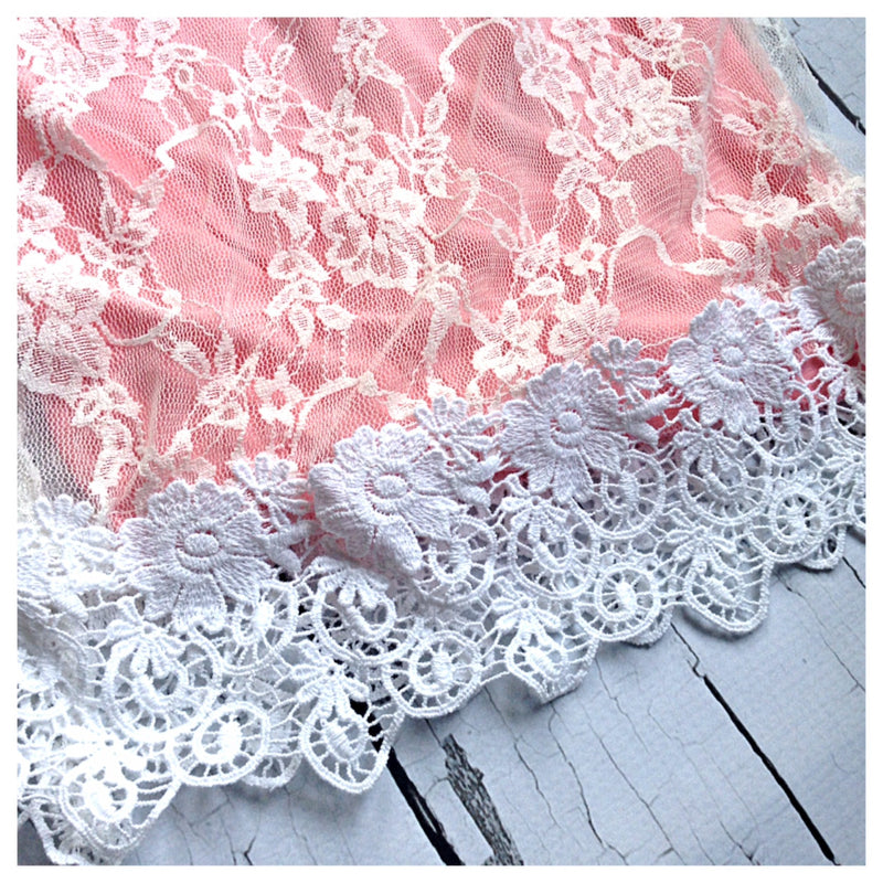 Pink Dress with Lace Overlay and Detachable Pearl Collar