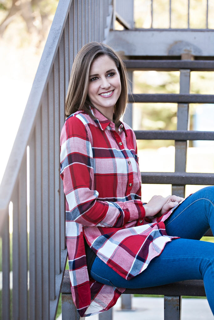 Comfy Plaid Button down Tunic | 3 colors